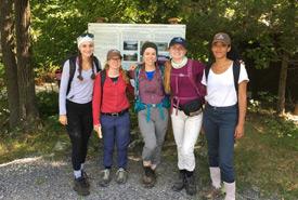 The eastern Ontario field crew. From left to right: Amelia Bonenfant, Maggie Stevenson, Alexandra Belanger, Megan Quinn, Gretta Lumsden (Photo by NCC)