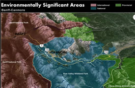 Environmentally Significant Areas near Banff and Canmore, AB (Map by NCC)