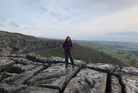Esme on the alvar in Malham Cove, U.K. (Photo by Esme Batten/NCC staff)
