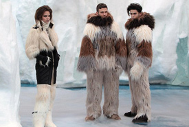 Models dressed in fake fur as as their hemlines were soaked by the melting catwalk (Photo from Wiki Commons)