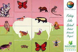 Species at risk mural that students from the Fishing Lake First Nation 89 School created with Cree artist Michael Lonechild. (Photo by NCC)