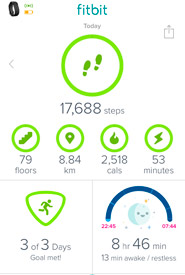 Alyssa's Fitbit stats after a day monitoring NCC's Cervo 2 property in Alberta.