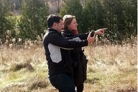 Gary White and Laura Robson in the field, ON (Photo by NCC)