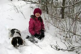 Grace and Pepper enjoying a fresh snowfall (Photo by Elke Meyfarth/NCC staff)