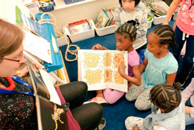 Grade 2 students learning about pollinators (Photo courtesy Bee City Canada)