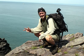 Greg Girard with his day pack in Nova Scotia (Photo courtesy Canada eh Travel & Adventure)