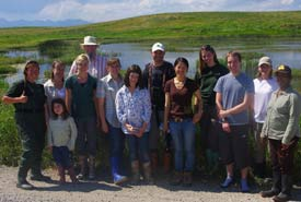 """I love the diverse groups that come out to CV Events! From children to snake expert Kris Kendall, we all were """"Searching for Alberta's Leopards"""" at the leopard frog biological inventory, August 2011 (Photo by NCC)"""