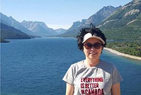 Helen Kim at Waterton Lakes National Park, Alberta (Photo courtesy of Helen Kim/NCC staff)