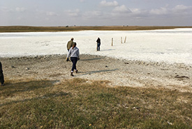 The large saline pothole on the Shoe Lake West property (Photo by Bill Armstrong)