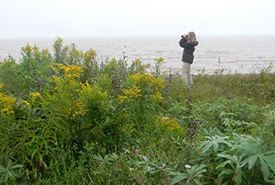 Conservation Intern monitoring for shorebirds at Chignecto Bay, Johnson's Mills, NB (Photo by NCC)
