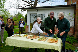 Left to right: Jenna Siu, John Lounds and Mark Stabb judging the pesto (Photo by NCC)