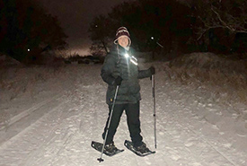 Thursday night snowshoeing in the Stony Mountain quarry became a weekly thing for the month of January. (Photo by courtesy of Julie Sveinson Pelc/NCC staff)