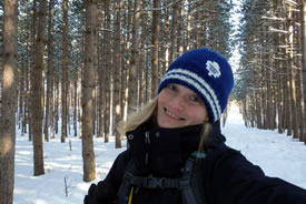 Kristyn Ferguson out for a snowy day of field work (Photo by NCC)