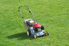Mowers release pollutants -  just one the negative effects of having a turf grass lawn (Photo courtesy Wikimedia Commons)