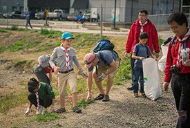 A community cleanup doesn't need to just be collecting litter. (Photo by Scouts Canada)