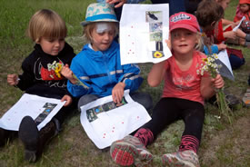 Little Badgers show off their scavenger hunt list (Photo by NCC)