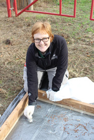Liv Monck-Whipp cleaning seeds at Norfolk milkweed seed collection Conservation Volunteers event (Photo by Christine Roberts)