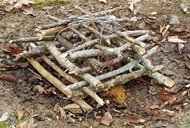 Starting a fire using log-house-style branches (Phot by Scouts Canada)