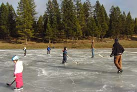 Hockey game, Winter Celebration, Marion Creek Benchlands, BC (Photo by NCC)