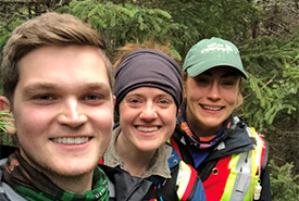 Matthew Anstey (left), Julia Lawler (centre) and Megan Lafferty (right) conducting an Atlantic ecosystem classification on the Barachois Brook property. (Photo by NCC)