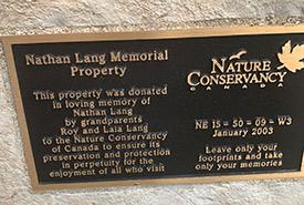 Nathan Lang Memorial Property sign (Photo by NCC)