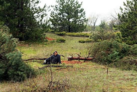 NCC national staff tackling Scotch pine on a nature reserve, ON (Photo by NCC)