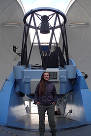 Sarah Savić Kallesøe in front of the NOTT telescope (Photo courtesy of Sarah Savić Kallesøe)