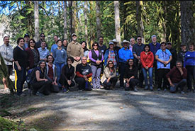 Participants in the Nicola & Cowichan Watershed Learning Exchange, held in Vancouver Island's Cowichan watershed in April 2019. (Photo by Regional District of Nanaimo)
