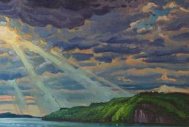 Réjean Roy. <i>Piercing light, McKellar Point </i>[cropped], 2017. Oil on panel, 24 x 30 inches. © Réjean Roy