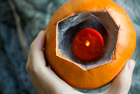 If your pumpkin is still in good shape place a scented candle inside it. (Photo from Creative Commons)