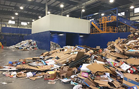 Facility where residential material is sorted and baled into products that are marketed (Photo by Tammy Schwass of the Material Recovery Facility, Lethbridge)