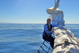 Sarah out on the sailboat (Photo courtesy Scouts Canada)