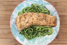 Atlantic salmon with creamy pesto zoodles (Photo by NCC)