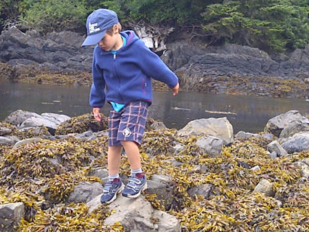 Si is exploring tidal pools on Vancouver Island for the first time (Photo by M Ruzylo)