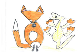 Fox and skink (Drawing by Simon Ruzylo)