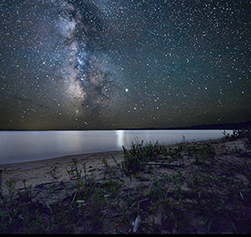 The Milky Way photographed on Sand Bay at Cockburn Island. (Photo by Esme Batten/NCC staff)