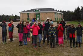 Students using binoculars to survey the estuary for birds (Photo by DUC)