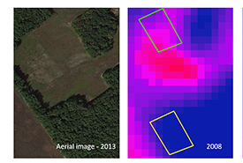 Left: An image of a restored field on an NCC property in 2013. Right: A thermal image of the same field taken in 2008. (Images by Google Earth and USGS Landsat 5)