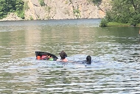 When two of my friends first capsized in the middle of a small inlet, we were a little concerned. (Photo by Craig Doucette/NCC staff)