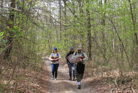 Todd Farrell leads staff to New Jersey tea planting site. (Photo by NCC)
