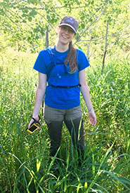 Victoria Shore working in the woods (Photo by NCC)