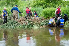 Des bénévoles installent des déflecteurs sur les rives de Willow Creek (Photo de Miguel Hortiguela)