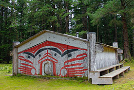 A longhouse in Windy Bay, part of Lyell Island Gwaii Haanas National Park. This longhouse was used to house people during the 1985 blockade. (Photo by Janel Saydam)
