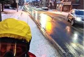 Twitter user @jsquaredink's first winter commuting by bike (Photo courtesy @jsquaredink)