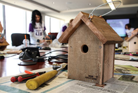 Completed bird box at Telus event (Photo by NCC)