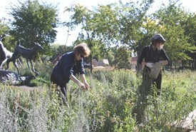 Volunteers cleaning-up the Prairie Garden (Photo by NCC)