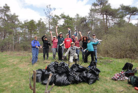 Garlic mustard removal at Severn Woodlands, ON (Photo by NCC)