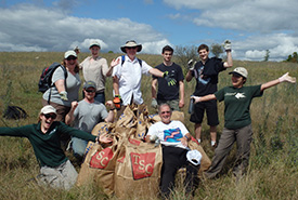 Volunteers at the annual dog-strangling vine seedpod collection event (Photo by NCC)