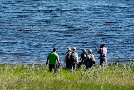 Volunteers conduct census by Mather Lake (Photo by Gail F. Chin)