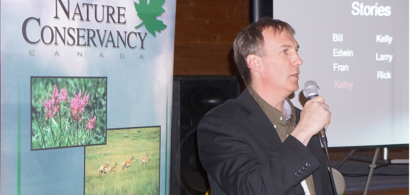 Guest Speaker Kelly Cooley presents digital stories at the Waterton Eat and Greet, AB (Photo By NCC)